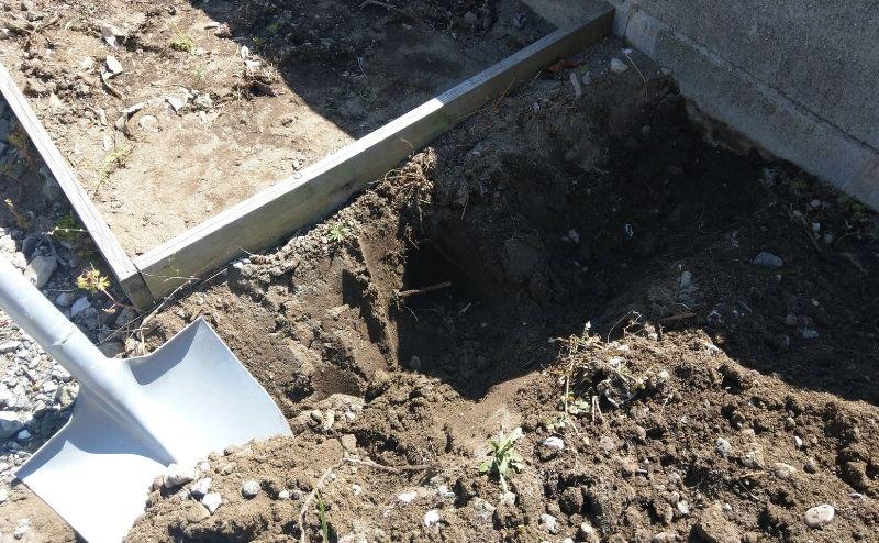 畑の周りに50cmの溝を掘る